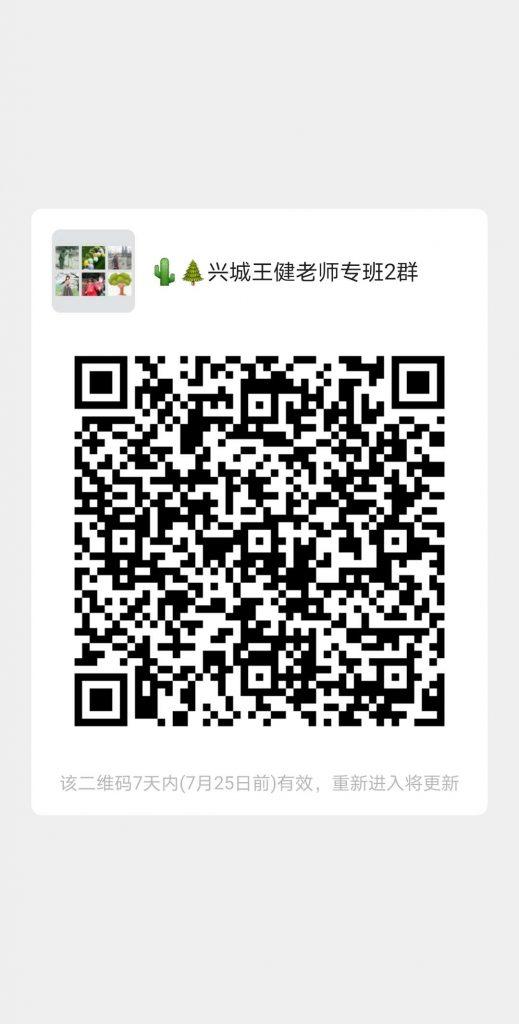 王健老师7月20日兴城专班网络公益课
